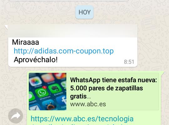 Mensajes whatsapp estafa adidas